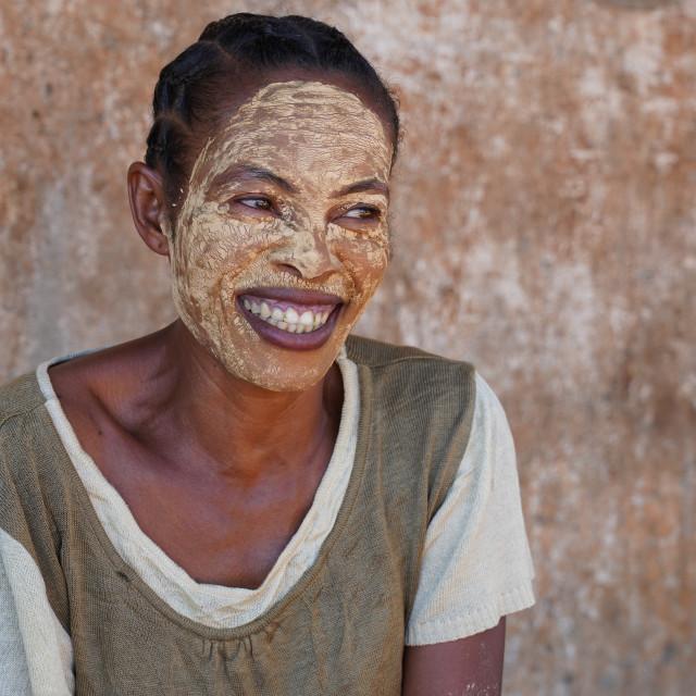 """People at the weekly market at Belo sur Tsiribihina, Menabe region, Western..."" stock image"