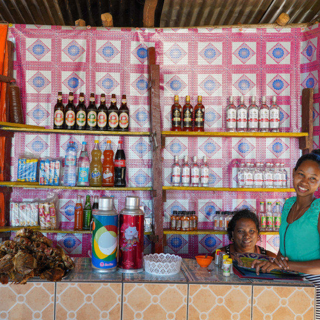 """Small restaurant at Bekopaka village, Tsingy de Bemaraha National Park,..."" stock image"