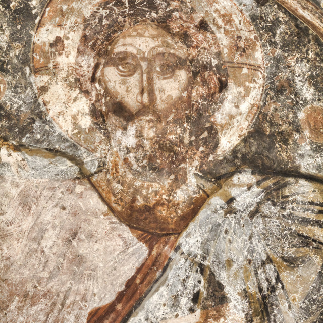 """Original Frescoes, 17th Century, Church of the Holy Apostles, 10th Century,..."" stock image"