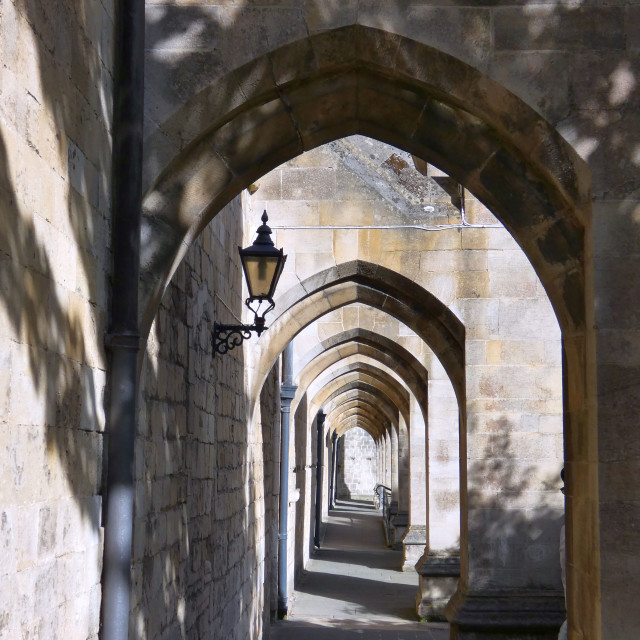 """Winchester Cathedral arches"" stock image"