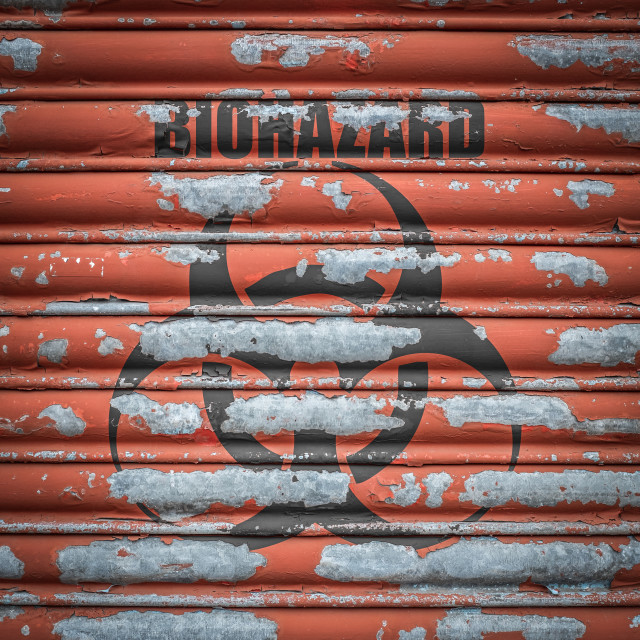 """""""Grungy Biohazard Sign At A Lab"""" stock image"""