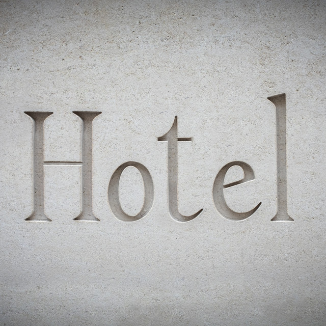 """""""Luxury Hotel Sign Engraved In Stone"""" stock image"""