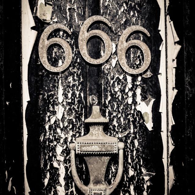 """""""Scary 666 Door"""" stock image"""