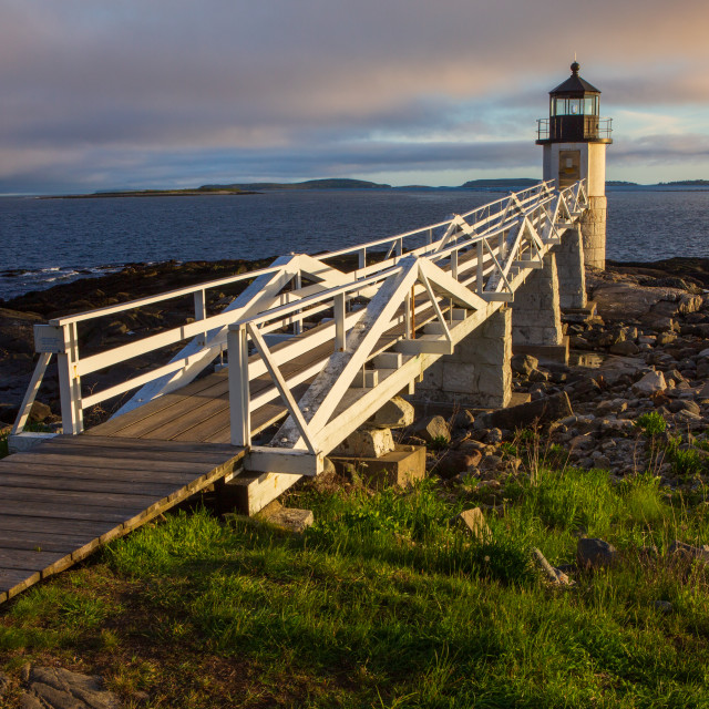 """Marshall Point Lighthouse at sunset, Maine, USA"" stock image"