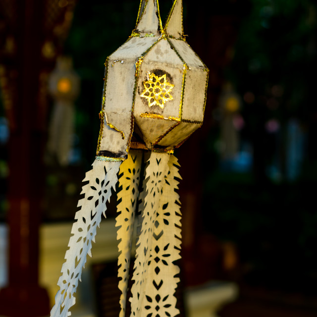"""Thai hanging light paper lantern"" stock image"