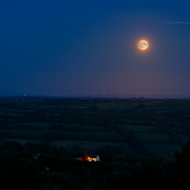 """Harvest Moon Over the Preseli Mountains"" stock image"