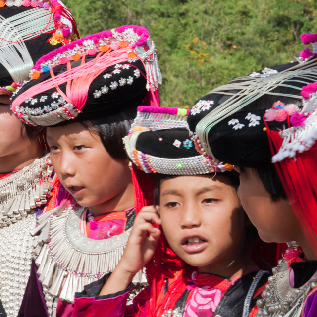 """""""Lisu hilltribe girls in traditional costume in Mae Hong Son, Thailand"""" stock image"""