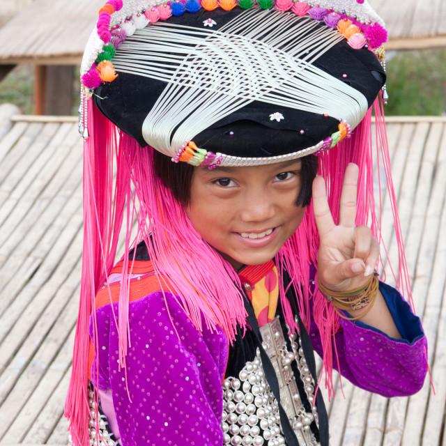 """Smiling Lisu hilltribe girl in tradional costume, Mae Hong Son, Thailand"" stock image"
