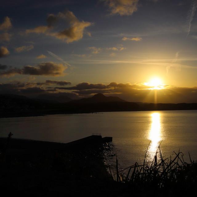 """""""Criccieth Sunrise"""" stock image"""