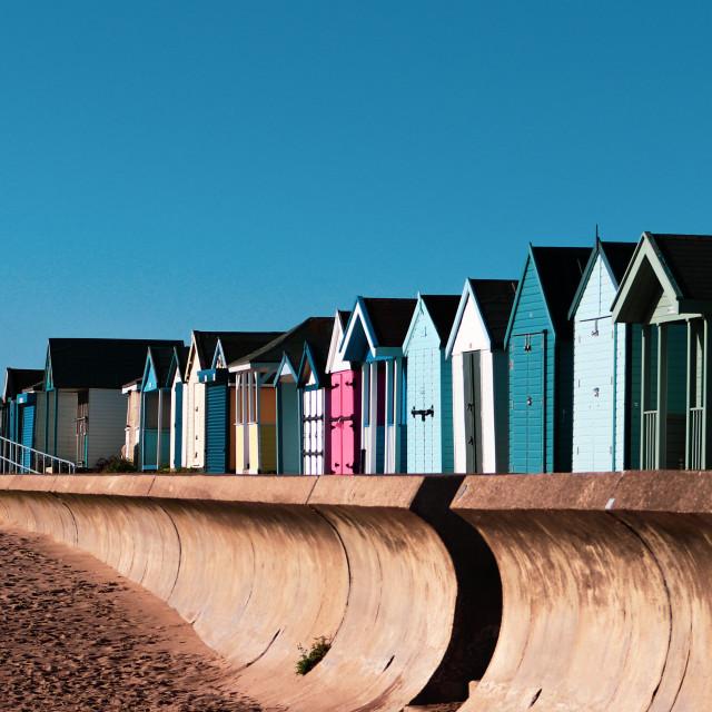 """Beach Huts Chapel Saint Leonard's"" stock image"