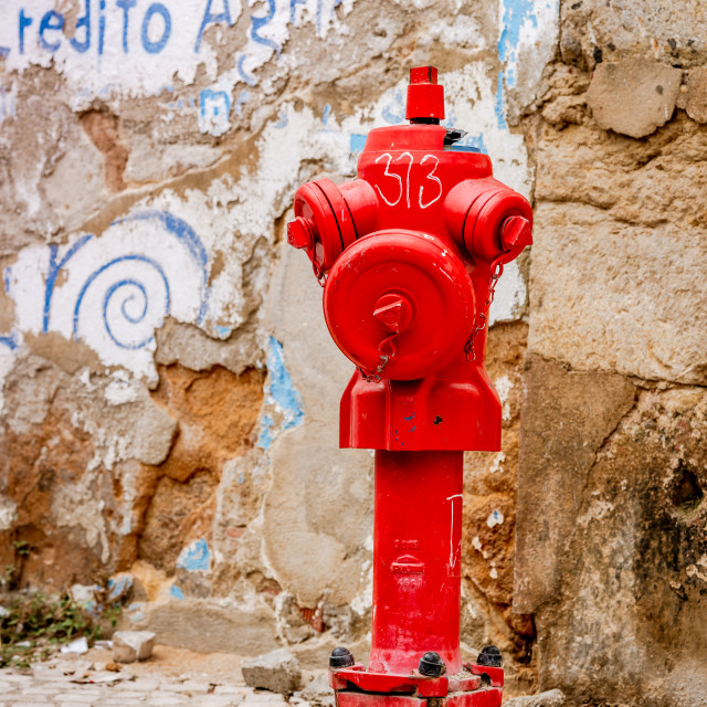 """Single red fire hydrant"" stock image"