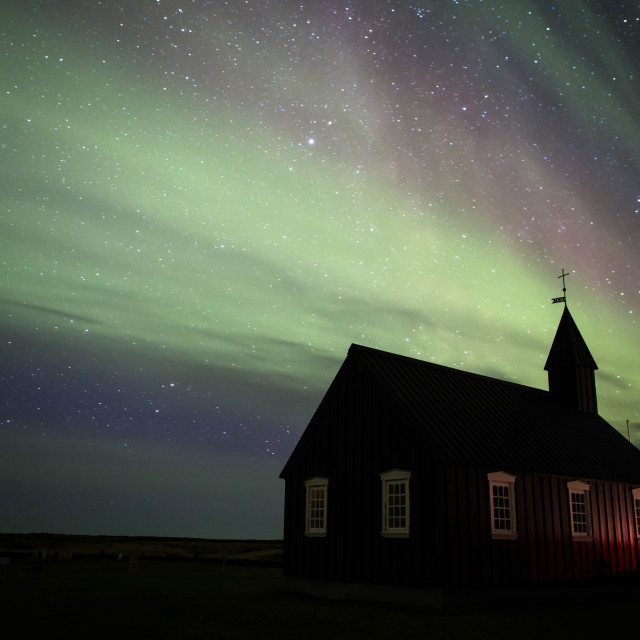 """Aurora Borealis over Budir Church Iceland"" stock image"