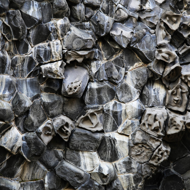 """""""Basalt Columns with Faces on them in Northern Iceland"""" stock image"""