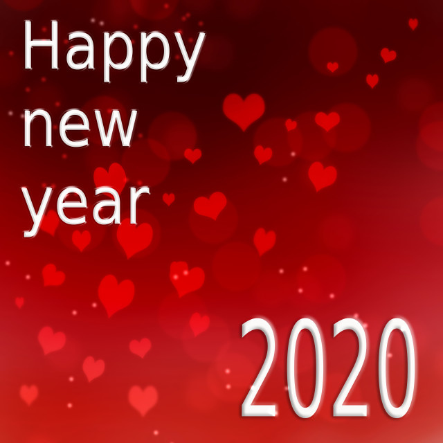 """""""greetings card 2020 on red background with heart shaped"""" stock image"""