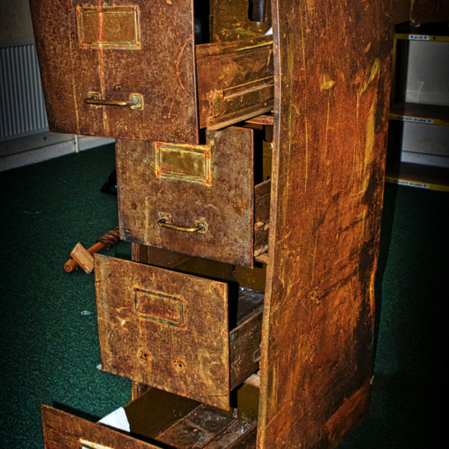 """""""Old Rusty Filing Cabinet"""" stock image"""