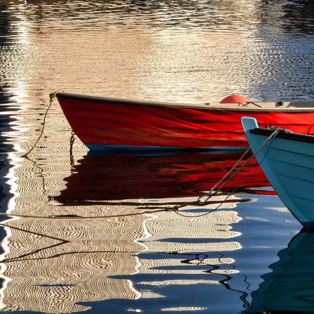 """Small Boat Reflections At Lerwick Museum, Shetland."" stock image"