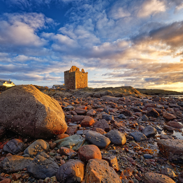 """Sunset at Portencross Castle"" stock image"