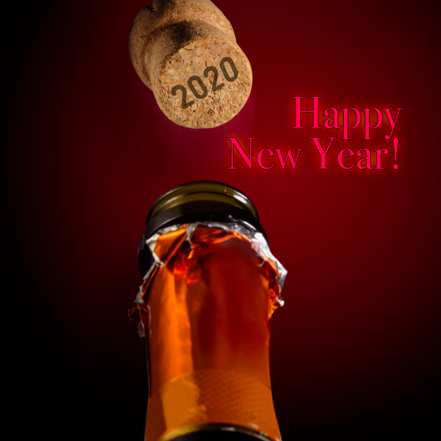 """""""Champagne for the 2020 New Year"""" stock image"""