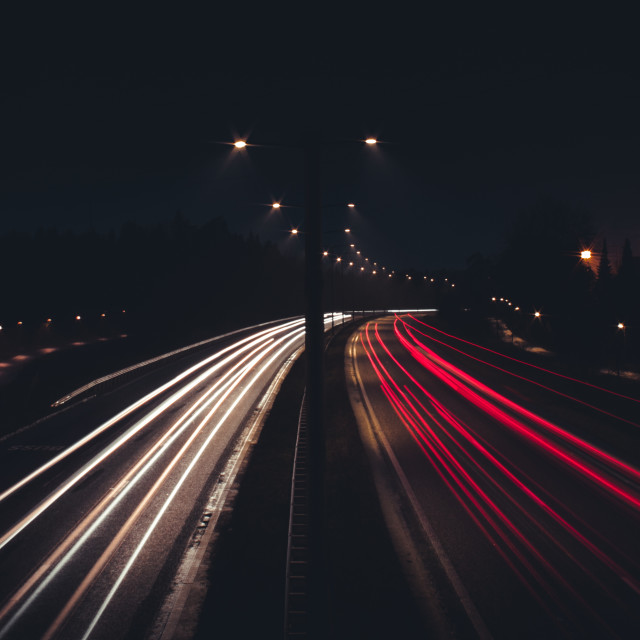 """Traffic light trails on a highway, Stockholm, Sweden"" stock image"