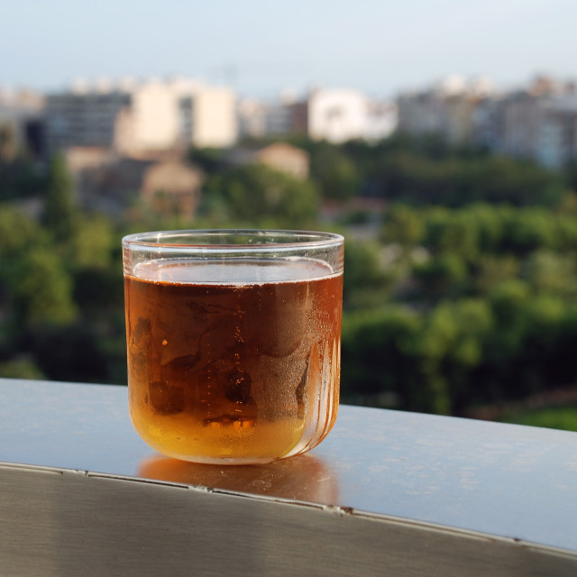 """""""Glass of lager, Valencia"""" stock image"""