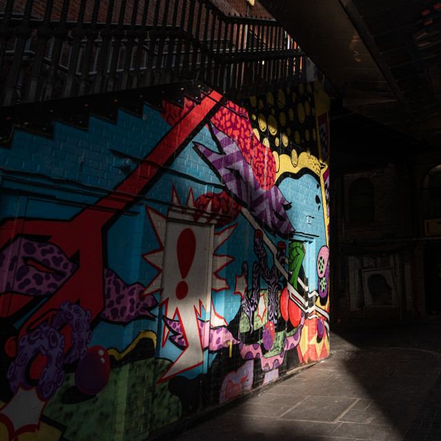 """""""Street Art in Shadow and Light"""" stock image"""