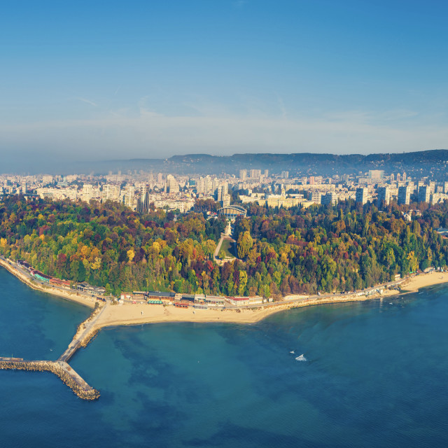 """Varna, Bulgaria cityscape, aerial drone view over the city skyli"" stock image"