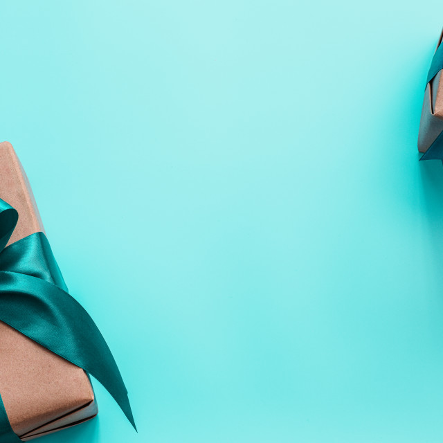 """""""Gift boxes in craft paper and satin ribbon, banner"""" stock image"""