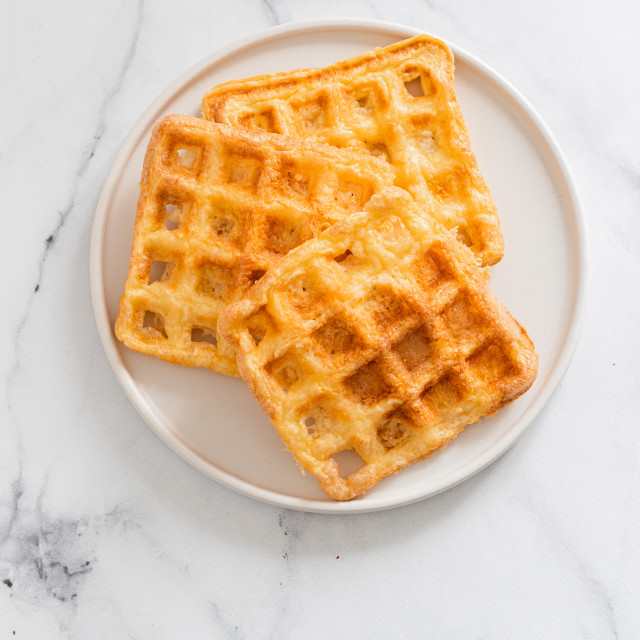 """Savory keto two ingredients waffles - chaffles"" stock image"
