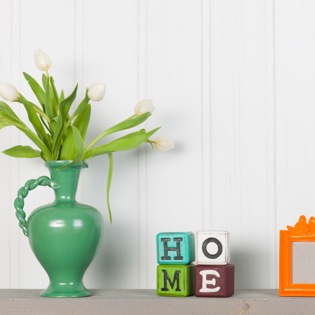 """Vase tulips in interior at home"" stock image"