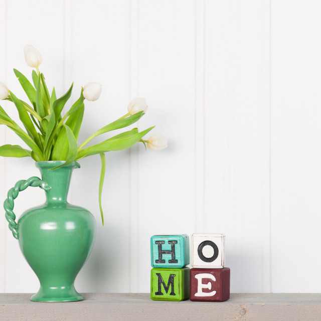 """Vase tulips at home"" stock image"