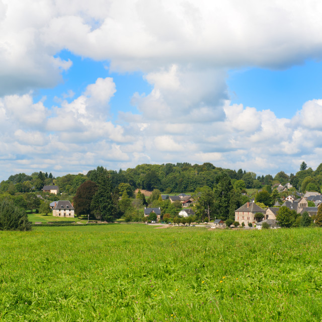 """Typical French village in green hills"" stock image"