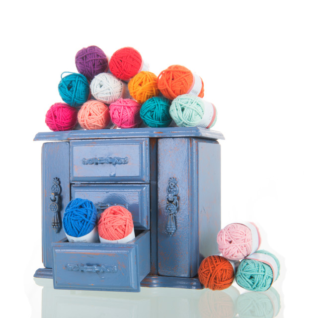 """Blue vintage cabinet with wool"" stock image"