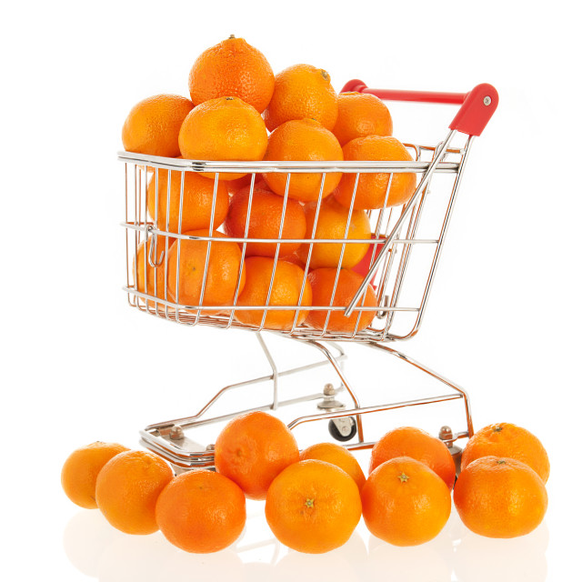 """Shopping cart with tangerines"" stock image"