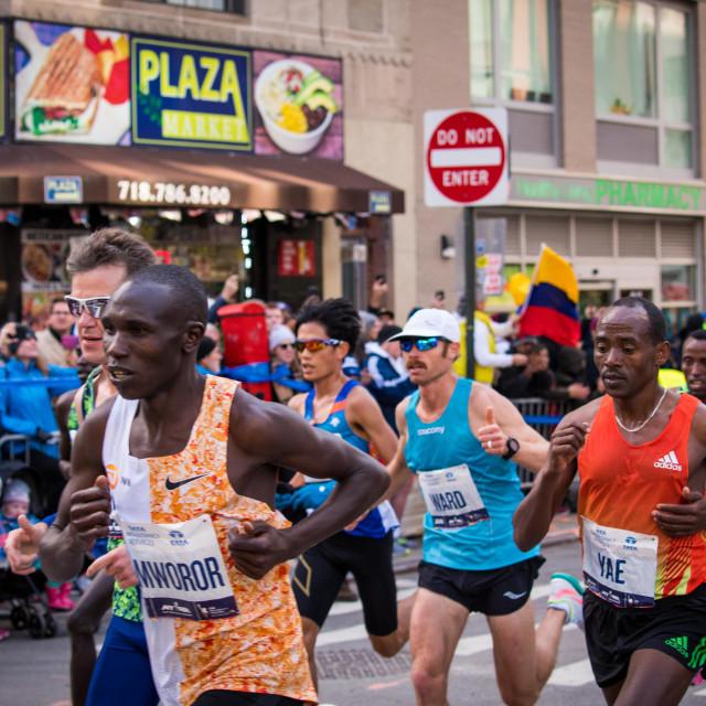 """NY Marathon Lead Pack Men 2019"" stock image"