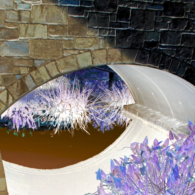 """""""reflections under a bridge abstract"""" stock image"""
