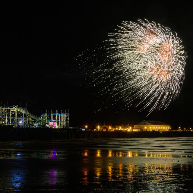 """Clacton Pier Fireworks"" stock image"