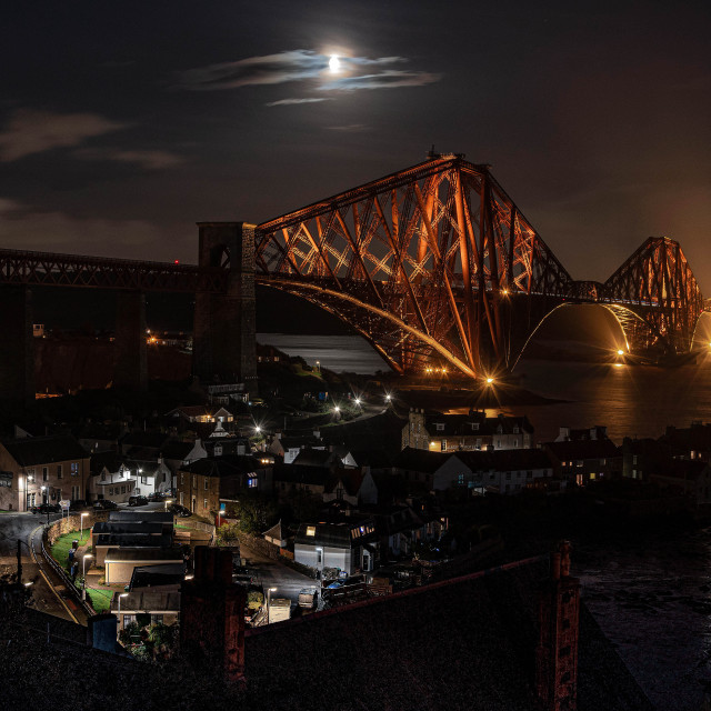"""Forth Rai lbridge at night"" stock image"