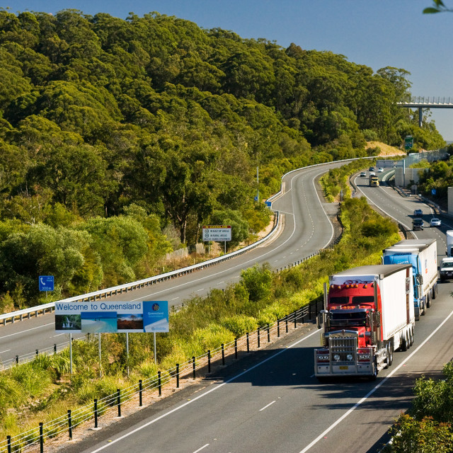 """""""Leaving the state of Queensland"""" stock image"""