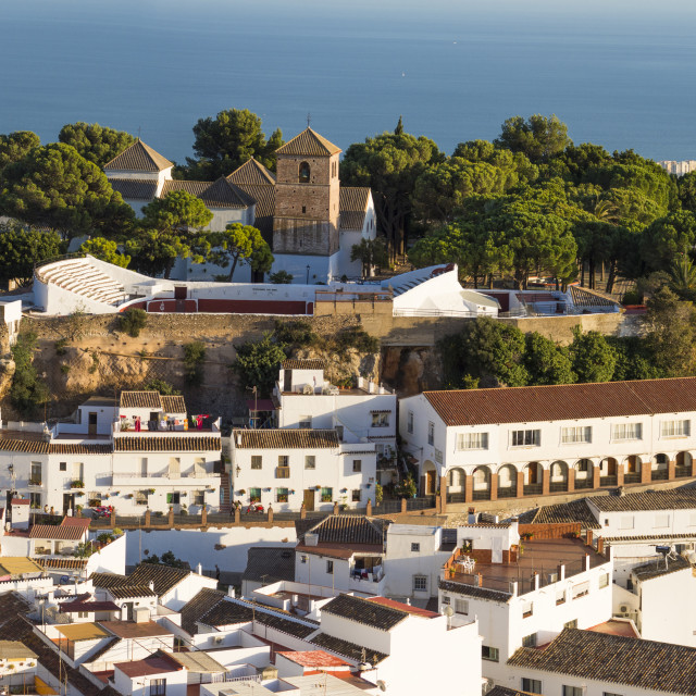 """Bird view of the white washed village of Mijas Pueblo, in Southern Spain, Andalusia."" stock image"