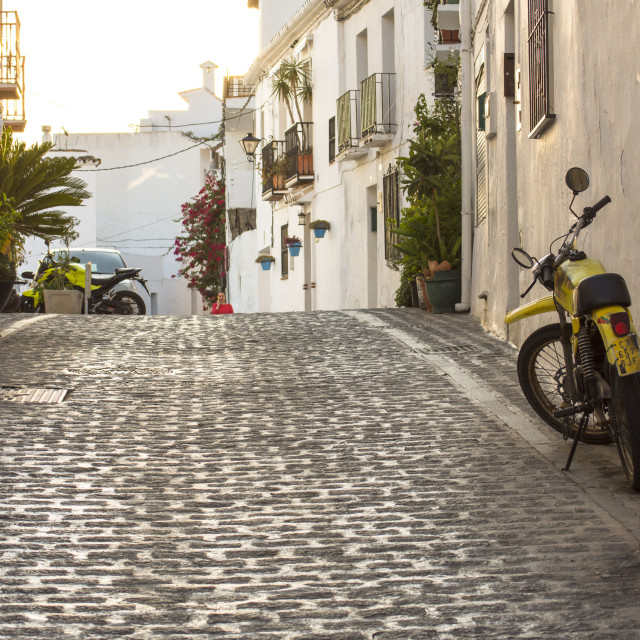 """Street view of steep streets of white washed village of Mijas Pueblo, in Southern Spain, Andalusia."" stock image"