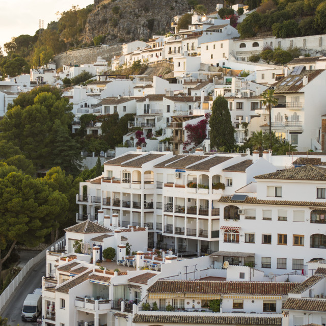 """View of the white washed village of Mijas Pueblo, in Southern Spain, Andalusia."" stock image"