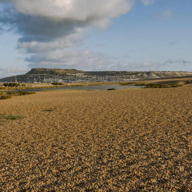 """Chesil Beach, covered with Shingle near the isle of Portland, Jurassic Coast, Dorset, South west England, UK."" stock image"