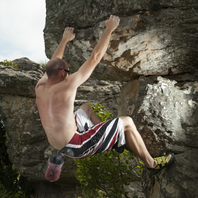 """Rock Climber in Mpumalanga South Africa"" stock image"