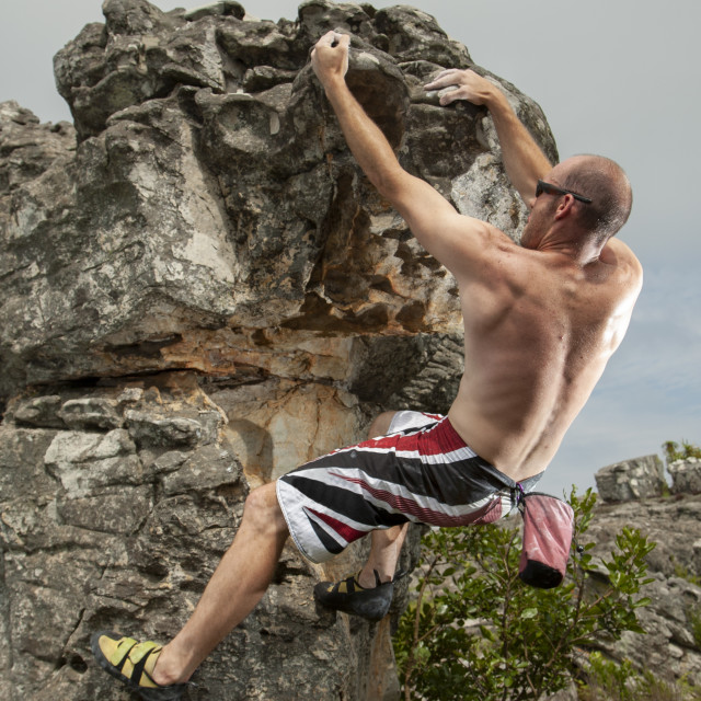 """Rock Climber in Mpumalanga South Africa"" stock image"