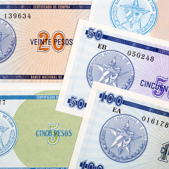 """Foreign exchange certificate from Cuba a background"" stock image"