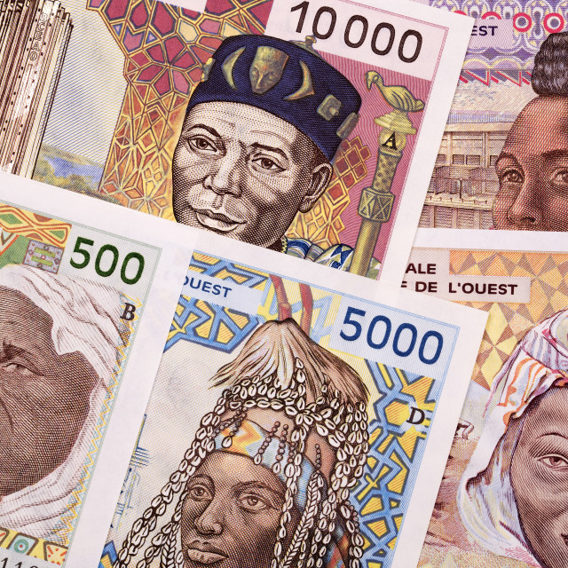 """Old West African States money a background"" stock image"