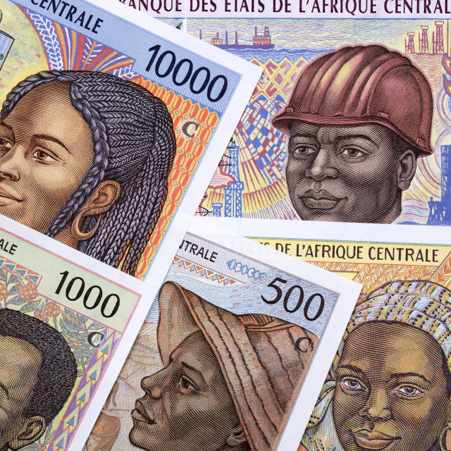 """Old Central African money a background"" stock image"