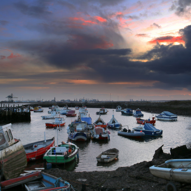 """""""Paddy's Hole , South Gare, Redcar at Sunset."""" stock image"""