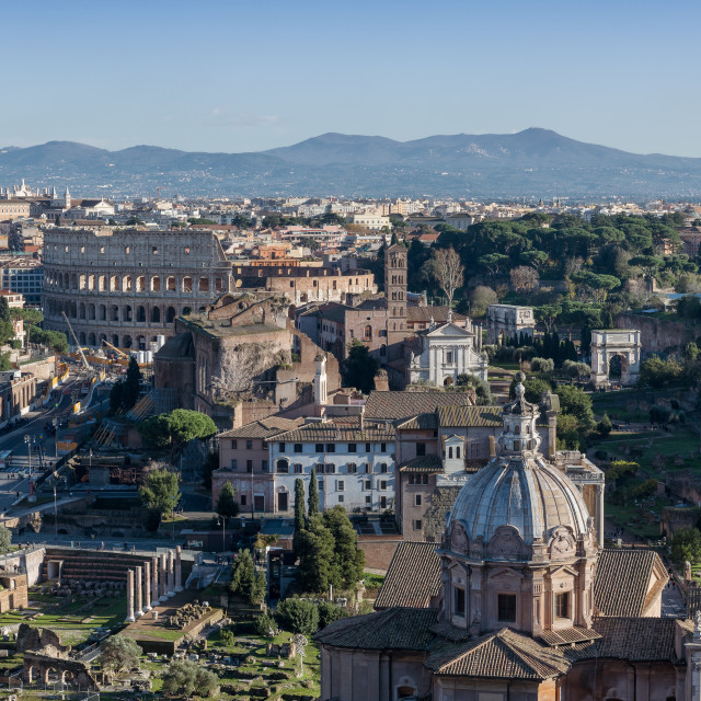 """Foro Romano and Colosseum from Vittorio Emanuele II Monument //"" stock image"