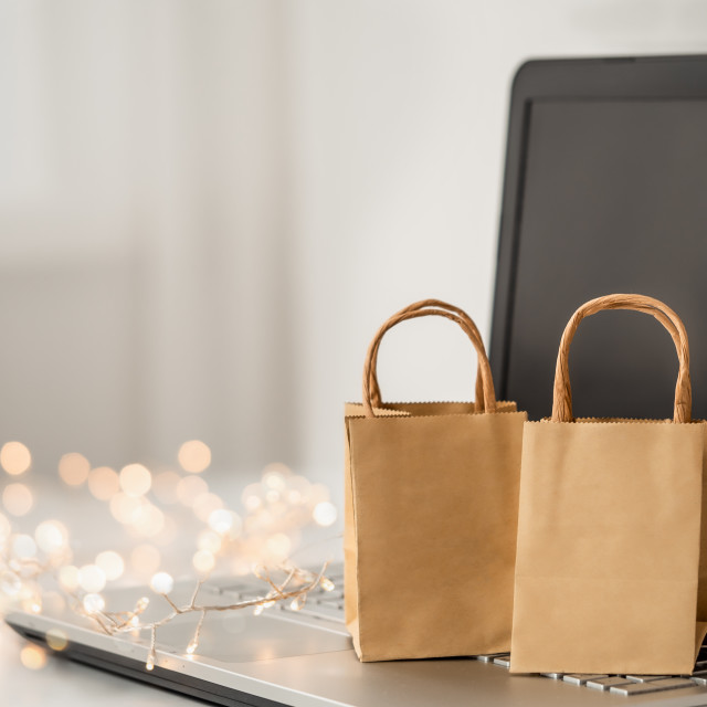 """""""Winter holiday shopping online"""" stock image"""